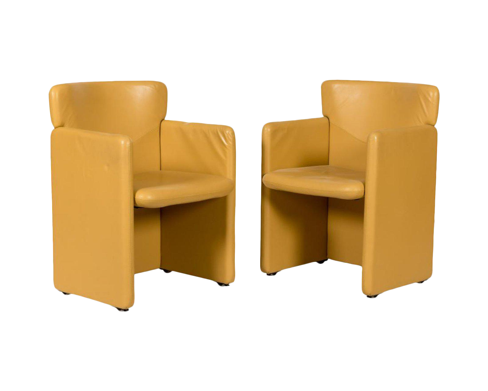 Mid Century Mustard Yellow Leather Chairs   A Pair