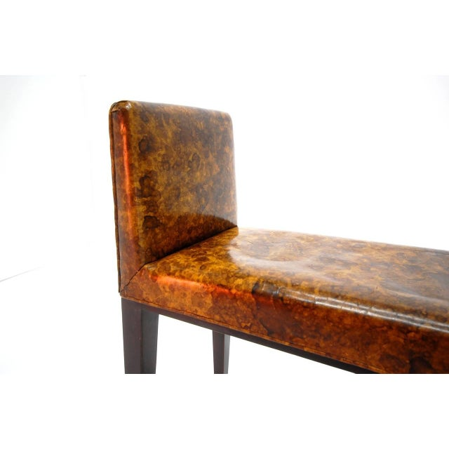 Bermuda bench in original oil drop leather by Edward Wormley for Dunbar, circa 1946. We offer free delivery on most of our...