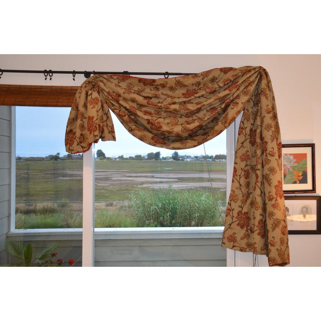 Custom made window swags of heavier drapery floral fabric with a beige backdrop and bit of a green undertone. Textured...