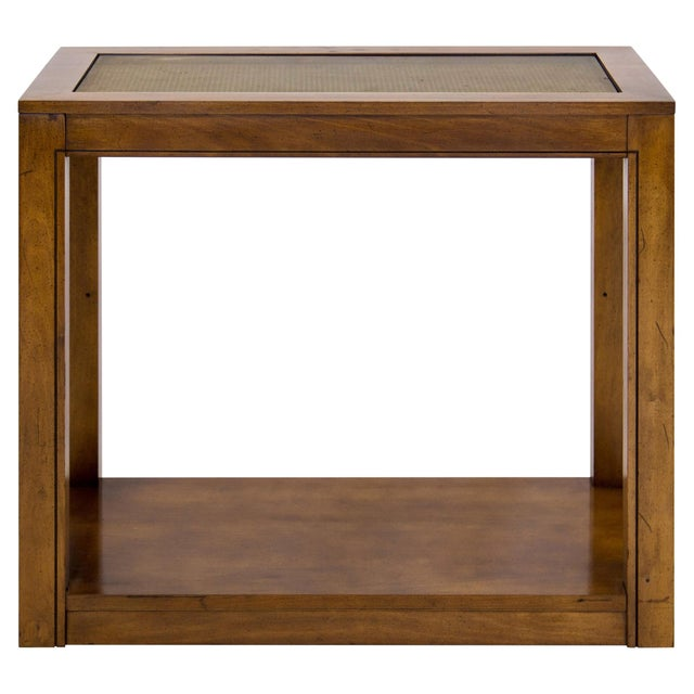 Mid 20th Century parsons-style console table or server with inset glass above tightly woven caning. It features a...