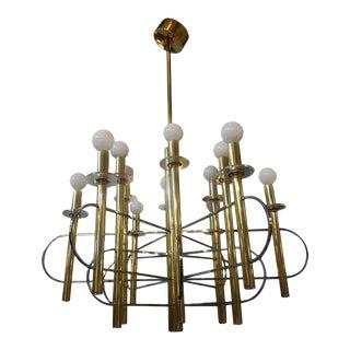 1970's Gaetano Sciolari Italian Brass and Chrome Chandelier For Sale