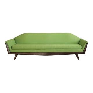 1950s Vintage Green Gondola Sofa For Sale