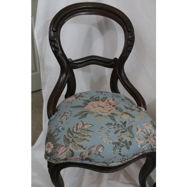 Mahogany Antique Blue Needlepoint Chairs - A Pair For Sale - Image 7 of 10