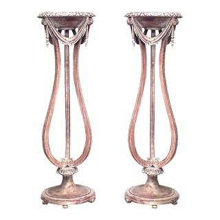 French Bleached Festoon Pedestals For Sale