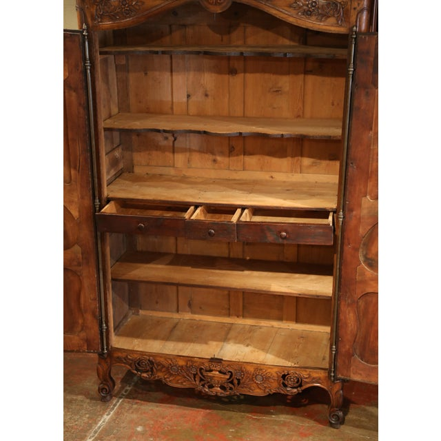 Fruitwood Exceptional 18th Century French Carved Walnut Wedding Armoire from Provence For Sale - Image 7 of 11