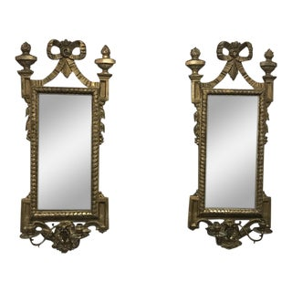 19th C. Giltwood Mirrored Candle Sconces - A Pair