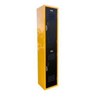 Vintage Vertical Locker Cabinet, Refinished in Matte Black and Yellow Ochre For Sale
