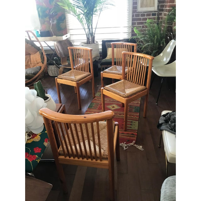 1960s Vintage Dining Table & 4 Pine Spindle Back and Rush Chairs - 5 Pieces For Sale - Image 9 of 11