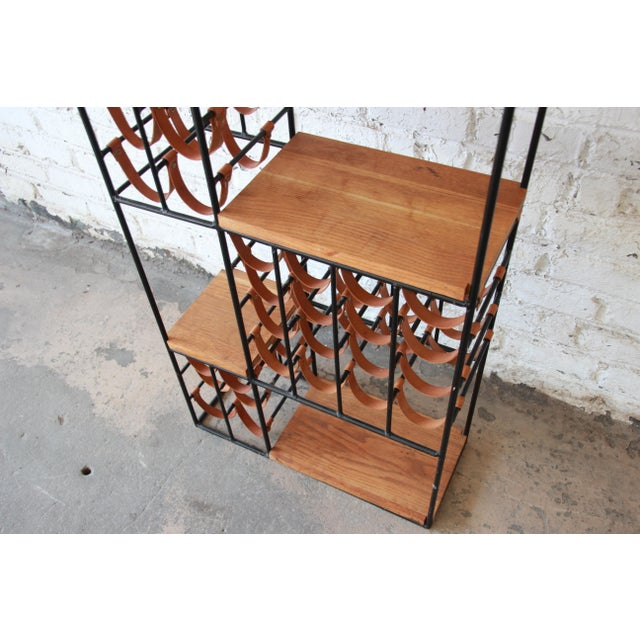 Arthur Umanoff Mid-Century Modern Leather and Iron 40-Bottle Wine Rack, Two Available For Sale - Image 12 of 13