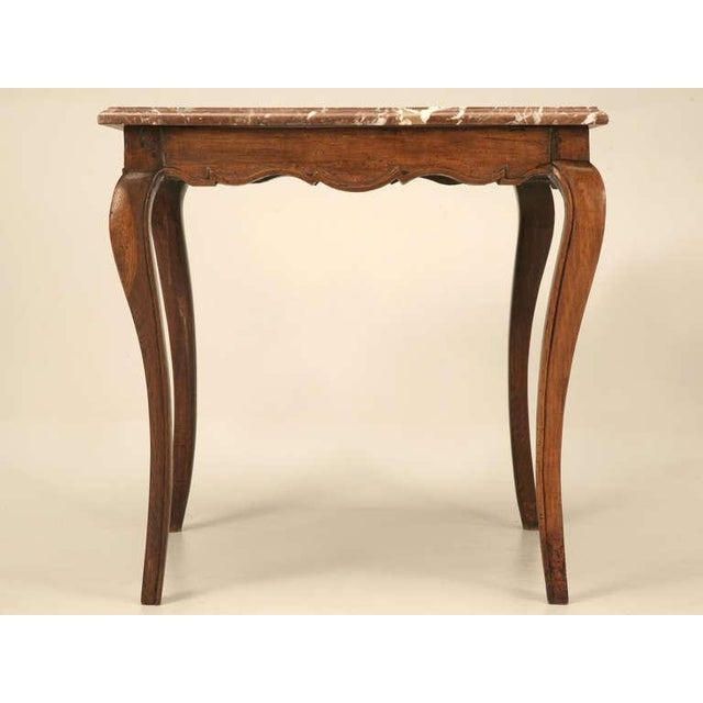 18th Century Antique French Louis XV Marble Top Cherry Side Table For Sale In Chicago - Image 6 of 10