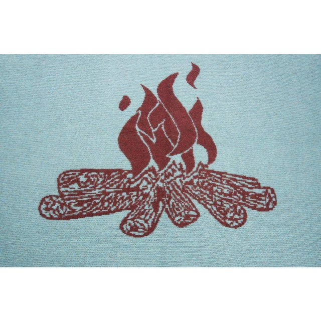 Cabin Cabin Collection Blanket in Turquoise & Brick Red For Sale - Image 3 of 5
