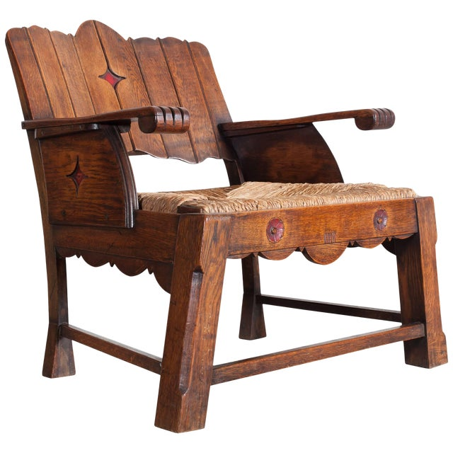 Sculptural Arts & Crafts Lounge Chair For Sale