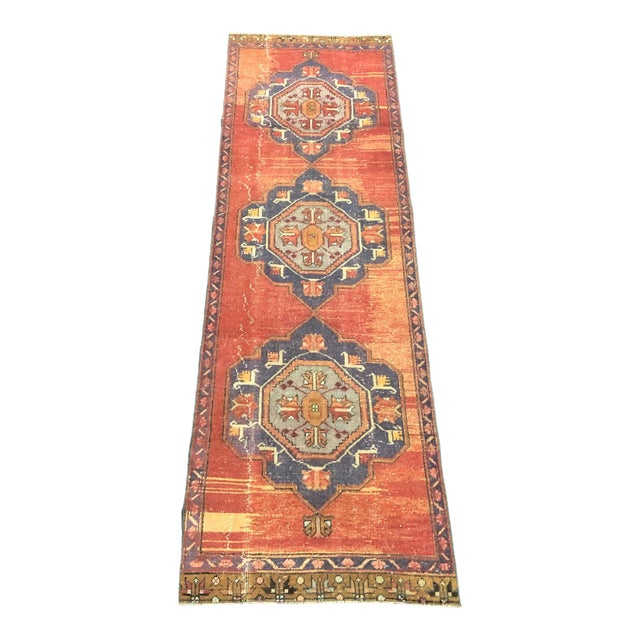 Boho Decorative Orange and Purple Turkish Handmade Vintage Runner Rug For Sale