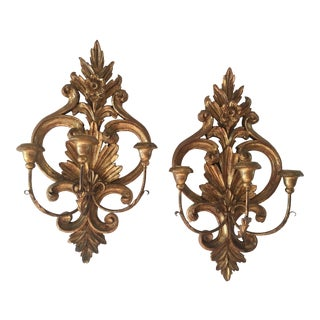 20th Century Hollywood Regency Gold Olivewood Candelabras Sconces - a Pair