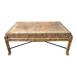 Maitland-Smith Tessellated Coconut Shell Bamboo Coffee Table For Sale