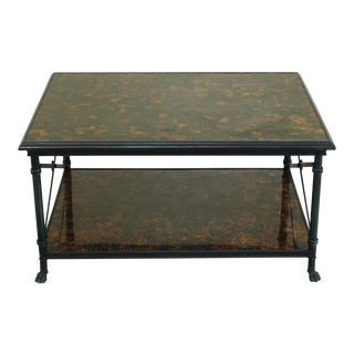 Maitland Smith Regency Style Iron & Bronze Base Coffee Table For Sale