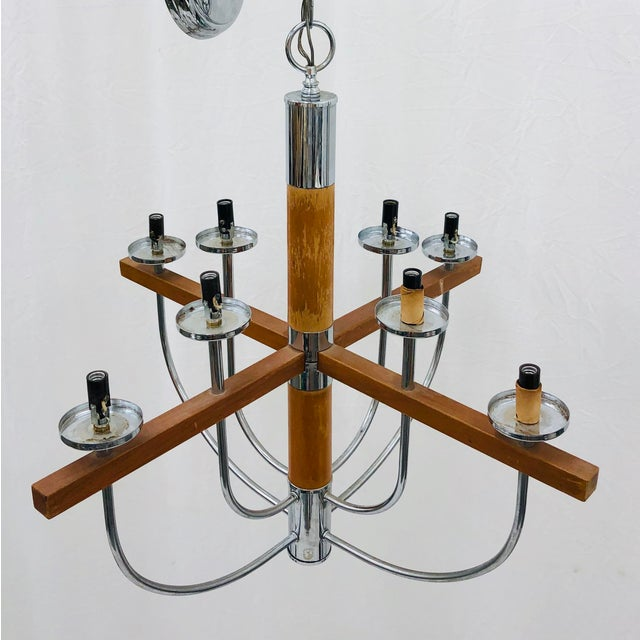 Mid 20th Century Vintage Mid Century Modern Wood & Chrome Chandelier For Sale - Image 5 of 9