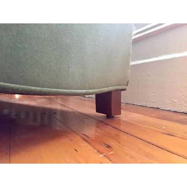 Roger + Chris Velvet Basel Armchair & Ottoman For Sale In Boston - Image 6 of 8