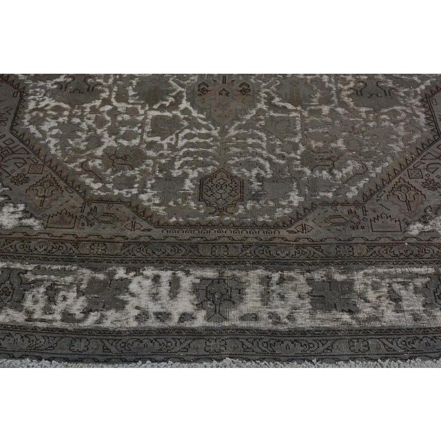 """1980s Vintage Distressed Color Reform Silas Gray/Gray Wool Rug - 7'8"""" X 11'0"""" For Sale - Image 5 of 7"""