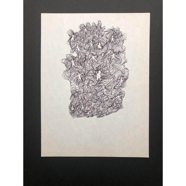 Mid-Century Modern 1991 Ink Abstract Drawing by William Glen Davis For Sale - Image 3 of 5