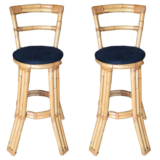 Yellow Restored Three Strand Rattan Bar Stool W/ Pole Rattan Back, Pair For Sale - Image 8 of 8