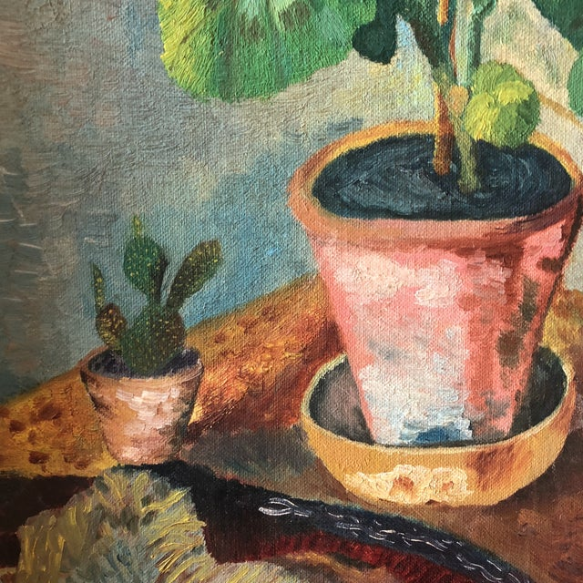 1950s Original Vintage Mid Century Geranium Still Life Painting For Sale - Image 5 of 7