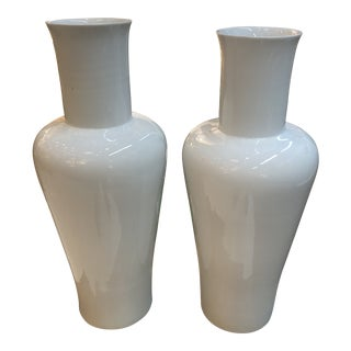 Mid-Century Modern Large Blanc De Chine White Vases For Sale