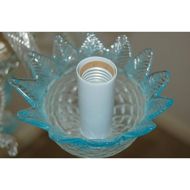 Chandelier Vintage Murano Glass Clear Blue For Sale - Image 10 of 10