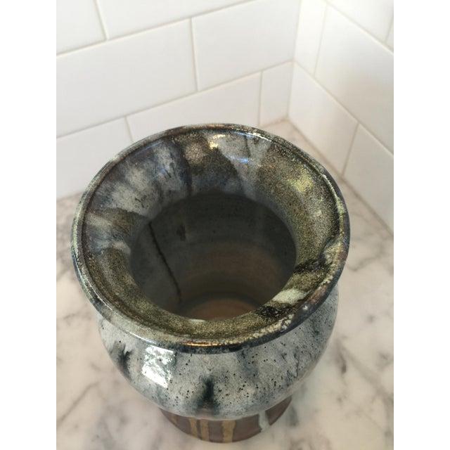 Vintage Mid-Century Glazed Pottery Vase For Sale - Image 4 of 4