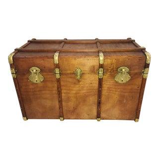 Vintage Wood & Brass Hardware Trunk For Sale