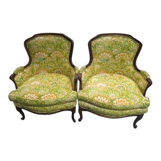 1960s French Style Yellow Upholstered Walnut Arm Chairs - a Pair For Sale