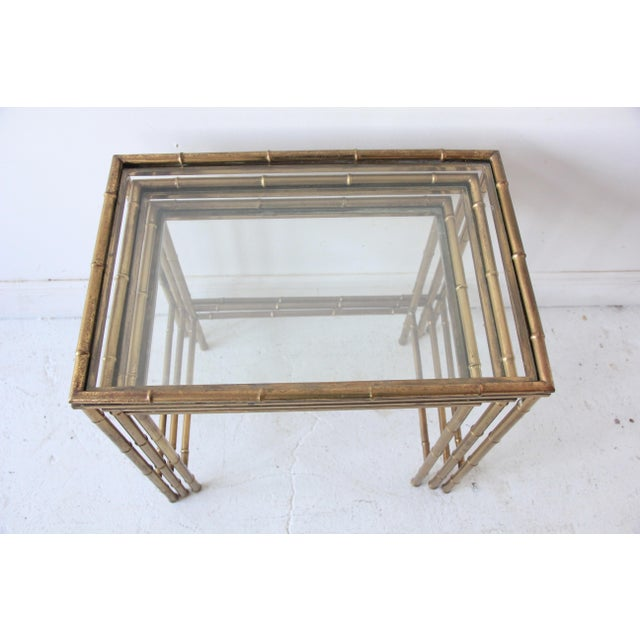 Vintage Brass Faux Bamboo Nesting Tables - Set of 3 For Sale In New York - Image 6 of 9