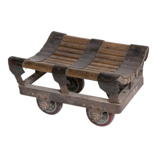 Small Iron and Wood Industrial Trolley For Sale