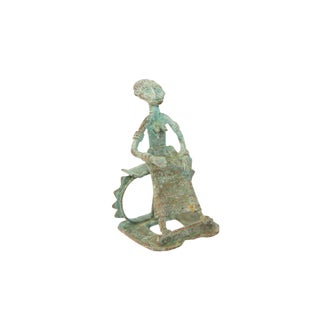 Vintage African Oxidized Copper Sitting Woman For Sale