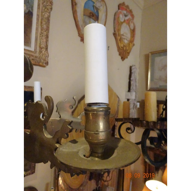 19th Century Belgium Brass Chandelier For Sale In New Orleans - Image 6 of 10