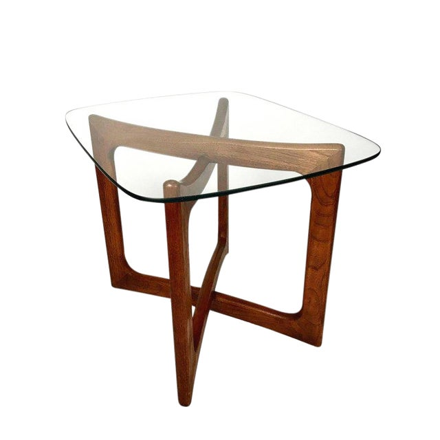 Sculptural Adrian Pearsall for Craft Associates Walnut and Glass Table For Sale