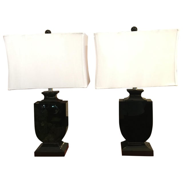 Art Deco Style Cut Crystal Lamps - A Pair - Image 1 of 9