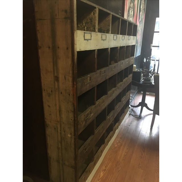 Old Hardware Cubby Mail Sorter Display Cabinet - Image 4 of 5