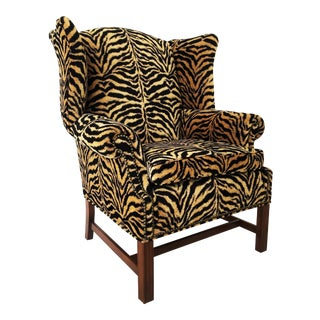 Georgian Style Tiger Print Upholstered Wingback Chair For Sale
