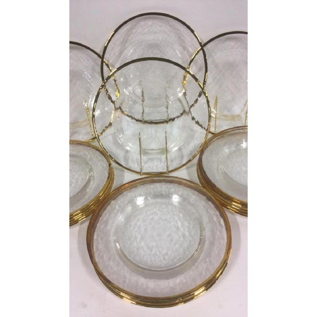 Art Deco Gold Edges Glass Dinner Plates - Set of 20 For Sale - Image 3 of 6