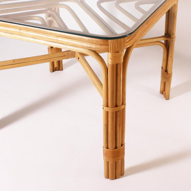 Mid-Century Modern Brown Jordan Rattan Table, C. 1960 For Sale - Image 3 of 8