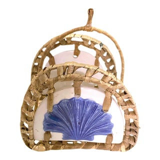 Vintage Boho Chic Ceramic and Rattan Napkin Holder For Sale