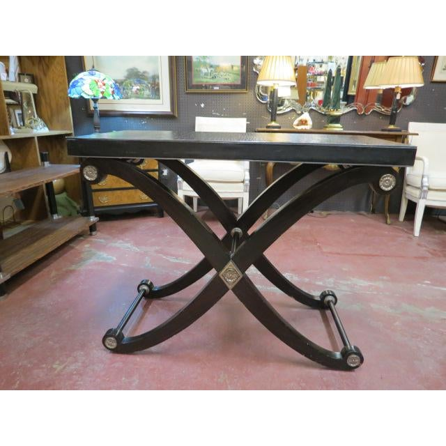 Vintage Maitland-Smith X base bar table/console table. Maitland-Smith is known for their high quality and innovative...
