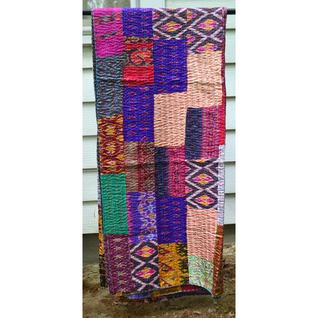 Handmade Woven Silk Sari Pieces Kantha Quilt - Image 2 of 8