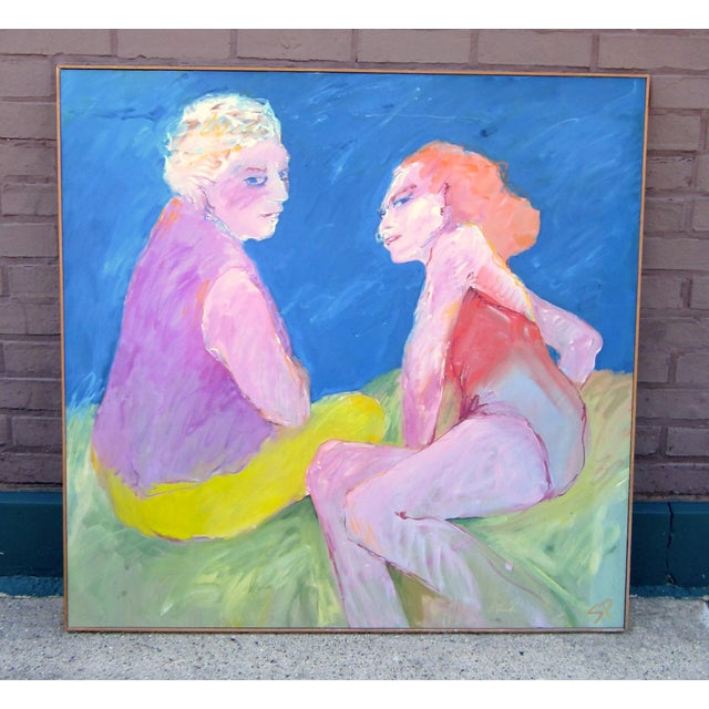"""1970s Vintage Suzanne Peters """"Two Women at the Lake"""" Beach Swimmers Oil on Canvas Painting For Sale - Image 12 of 12"""