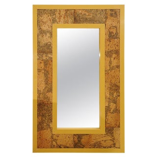 1960s Lacquer and Cork Patchwork Inset Mirror For Sale