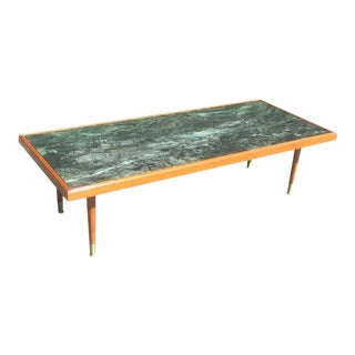1960s Mid Century Modern Green Marble Coffee Table For Sale