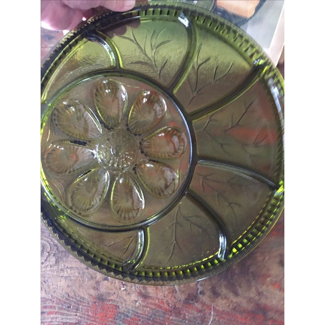 Green Glass Hors d'Oeuvre Tray in Box For Sale - Image 5 of 5