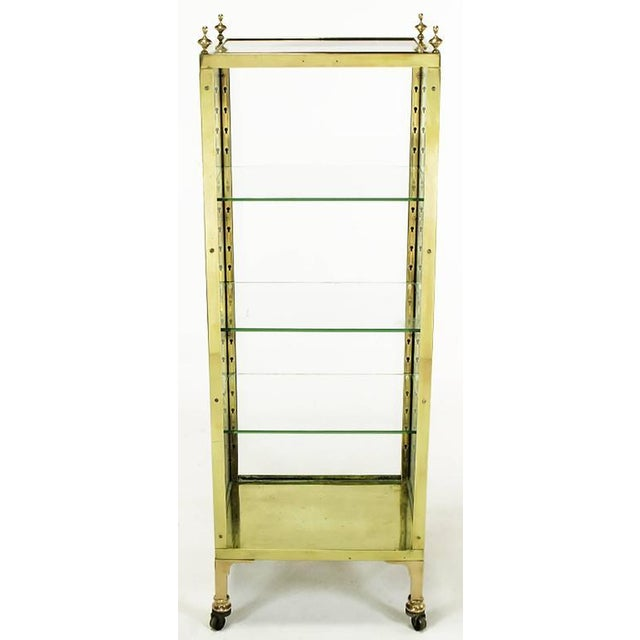 1930s Brass and Glass Open Three-Shelf Vitrine For Sale - Image 4 of 7