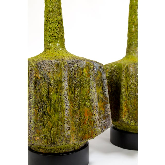 Yellow Monumental Pair of Green Lava Glaze Lamps by Volcano Fantoni For Sale - Image 8 of 12